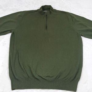 L.L. Bean 1/4 zip cotton/cashmire sweater mens L